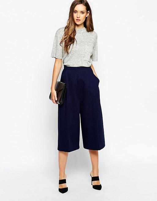 navy blue cropped wide leg pants