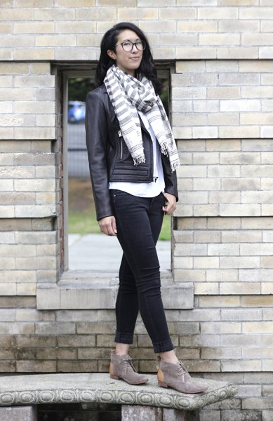 grey white striped scarf chukka boots leather jacket