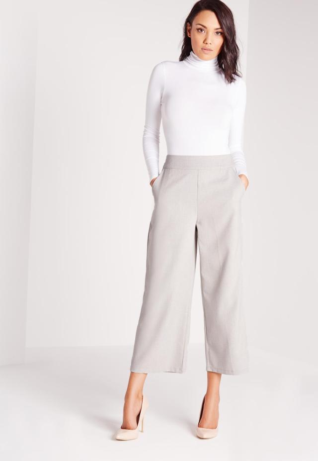 grey wide leg pants white sweater