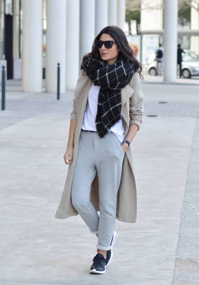jogger pants trench coat scarf