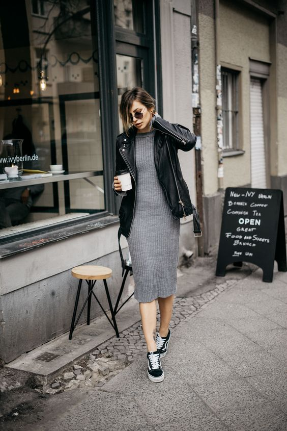 knitted dress black sneakers
