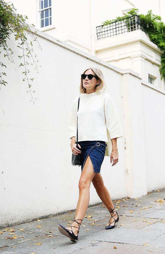 lace up flats mini denim skirt