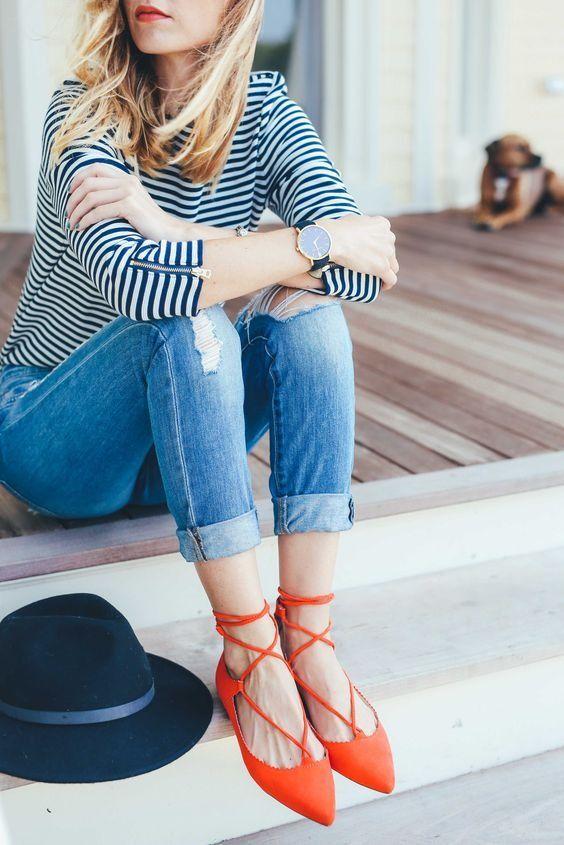 lace up flats striped shirt