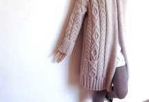 long cable knit sweater coat