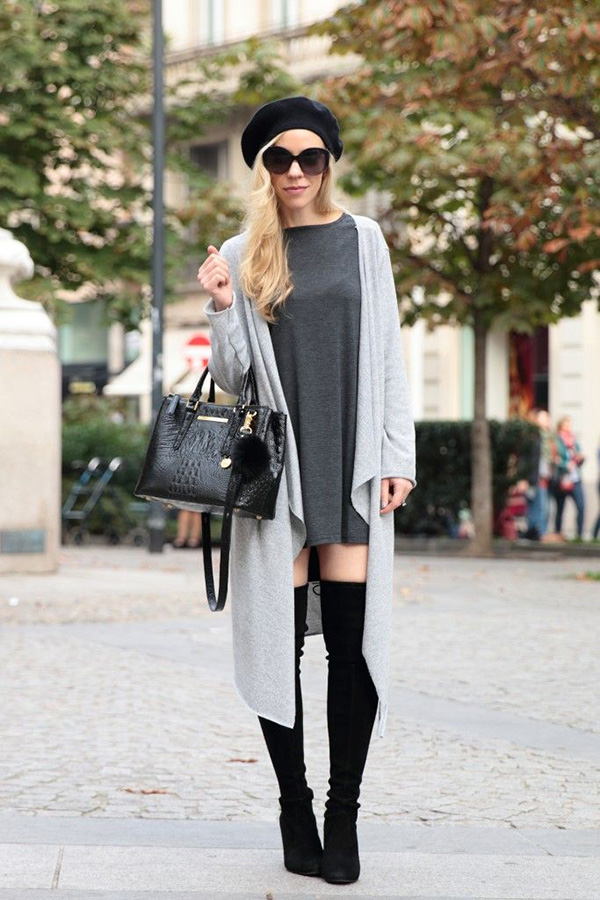 long cardigan sweater thigh high boots