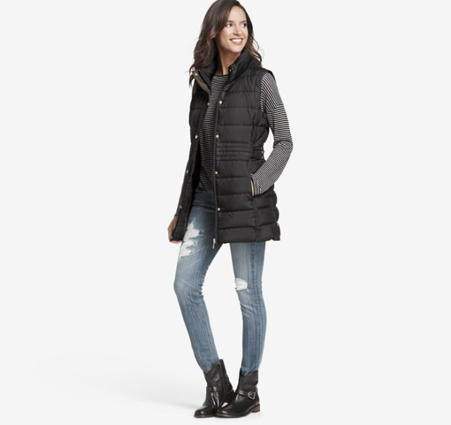 long quilted vest outfit