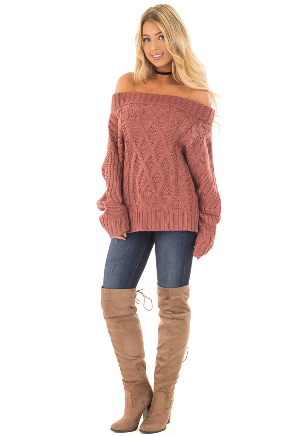 off shoulder cable knit sweater jeans