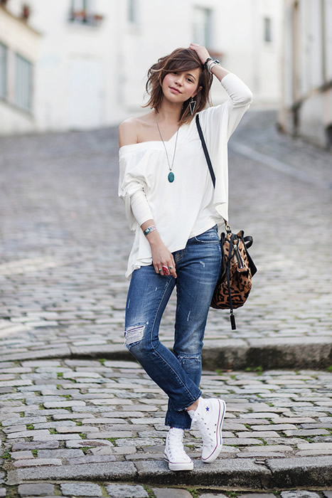 one shoulder blouse high top converse