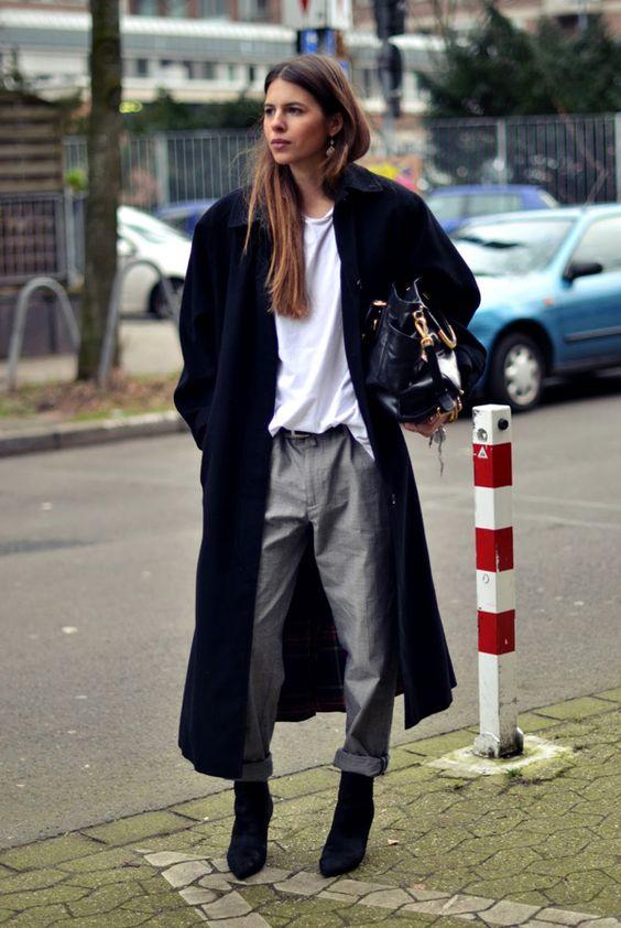 oversized coat grey chinos