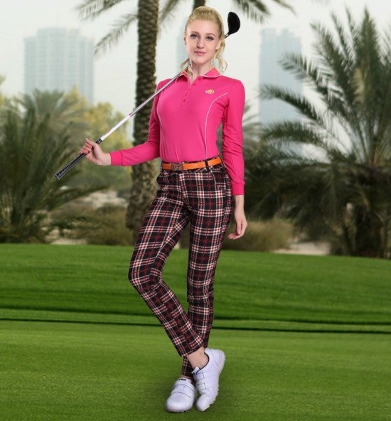plaid golf pants pink polo shirt