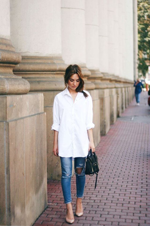 plain long white shirt with jeans