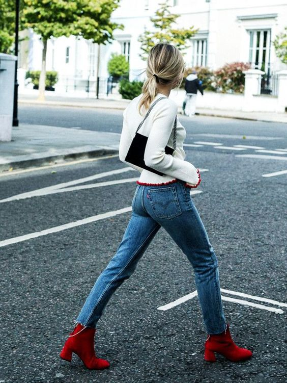 red booties jeans knit