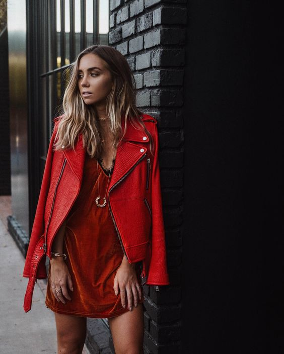 red satin red leather jacket