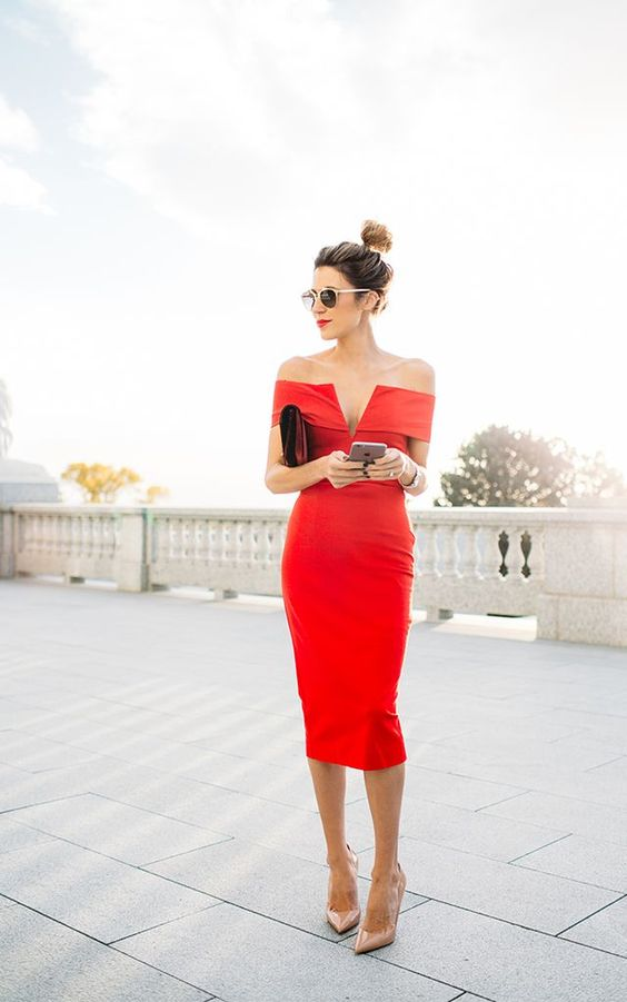 red pencil off the shoulder dress