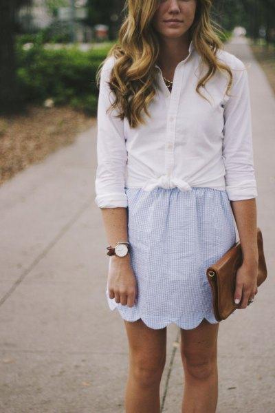 scalloped hem mini skirt knotted white shirt