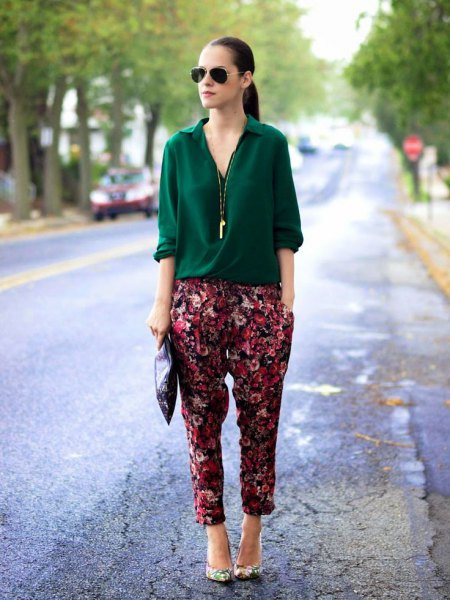 silk black shirt floral printed pants