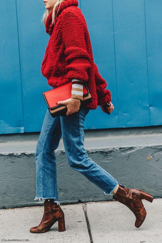 snakeskin booties jeans sweater