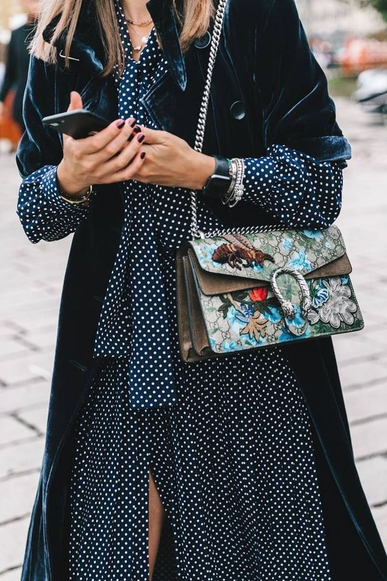 velvet coat polka dot dress