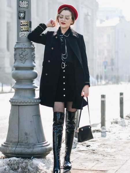 wear with black shirt dress and thigh high boots