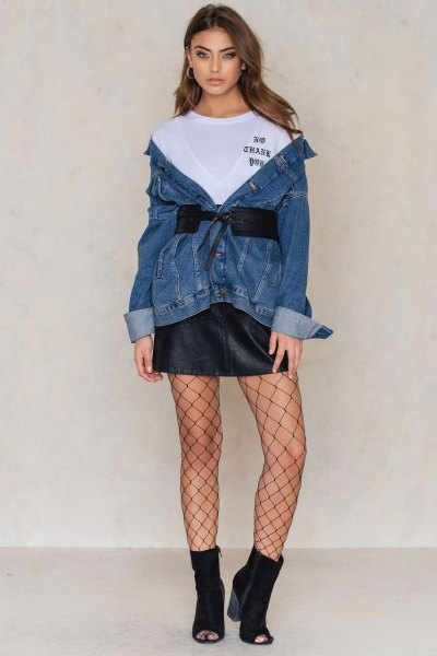 wear with tie waist denim jacket and leather skirt