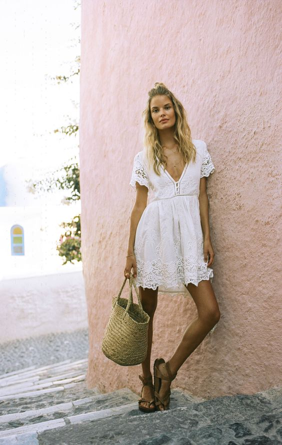 white boho empire waist dress