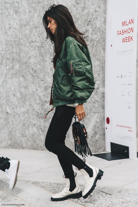white boots green bomber jacket
