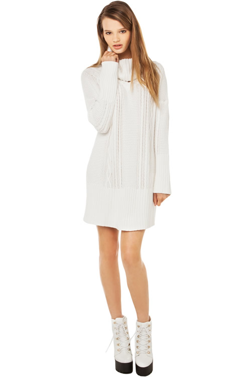 white cable knit sweater dress