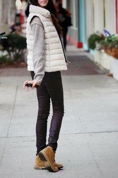 white down vest chukka boots womens