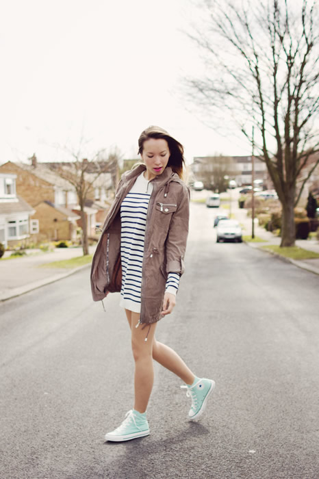 white high top converse striped sweater dress outfit