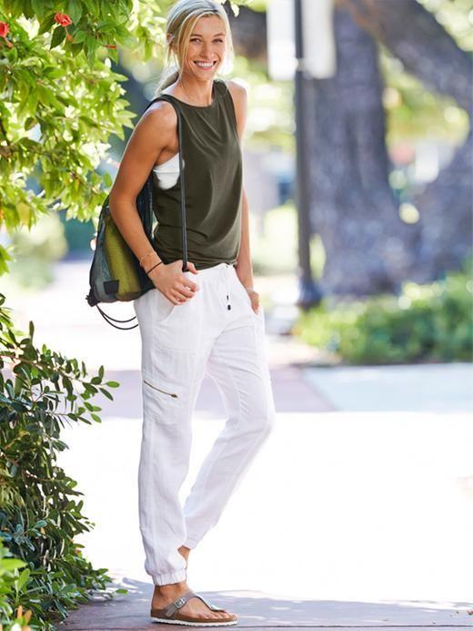white joggers pants sleeveless top