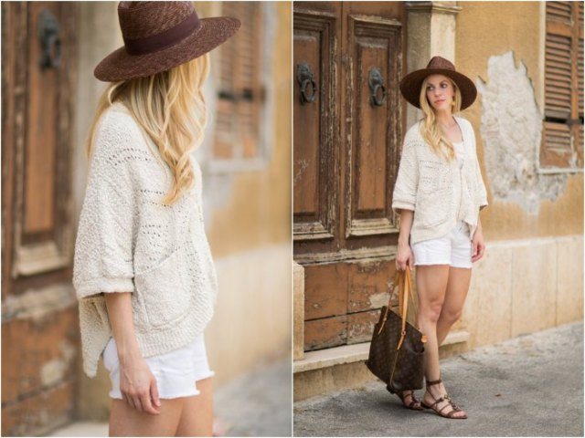 white knit sweater white denim shorts