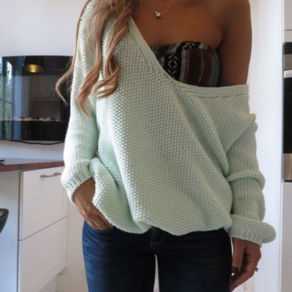 white off shoulder sweater over tube top