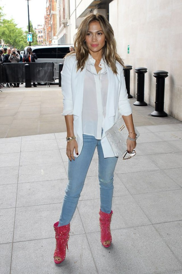 white shirt and jacket with peep toe booties