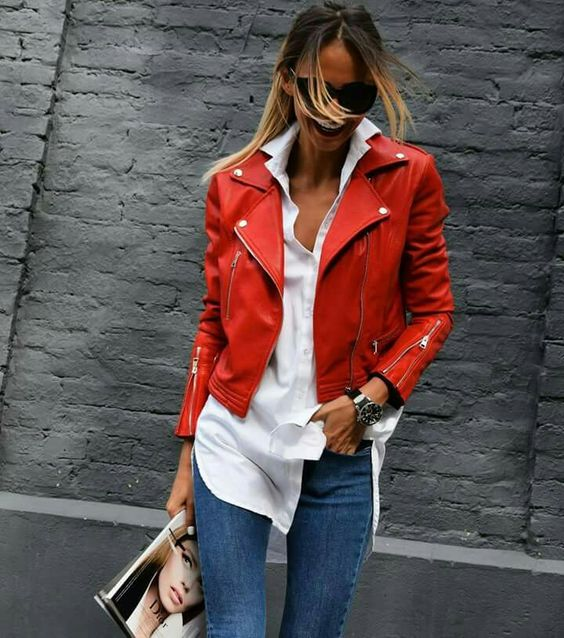 white shirt red leather jacket