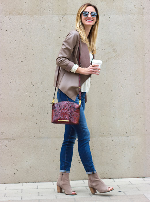 white sweater leather jacket open toe booties