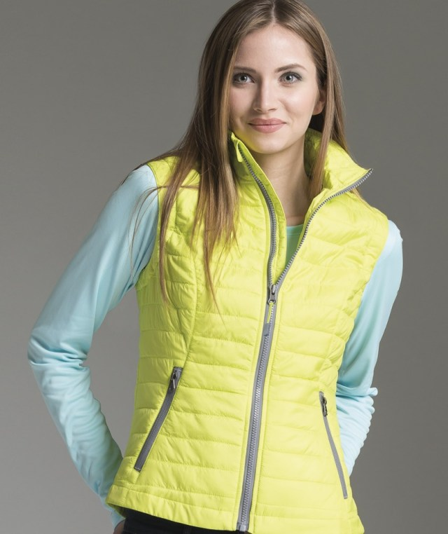 yellow quilted vest