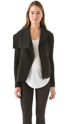 asymmetric jacket white top black skinny jeans
