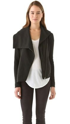 asymmetric jacket white top black skinny jeans
