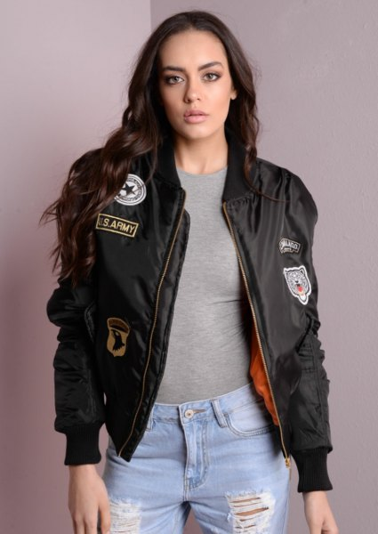 badged bomber jacket boyfriend jeans