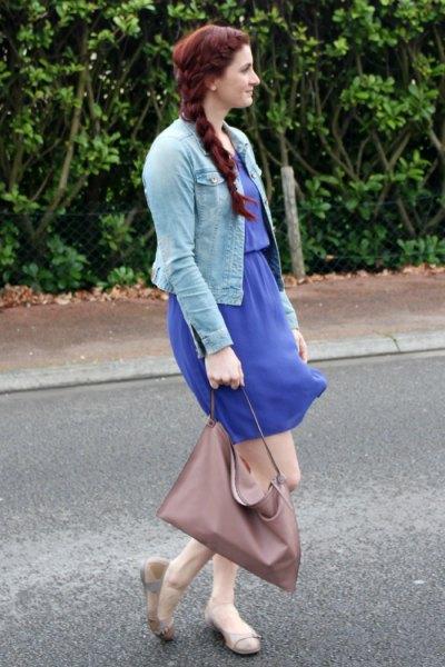 ballet shoes blue knee length dress
