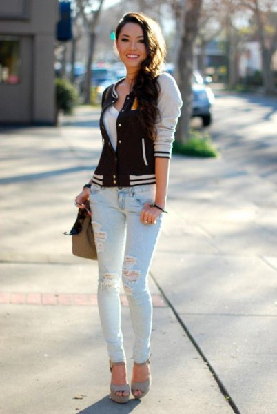 baseball jacket light blue ripped skinny jeans