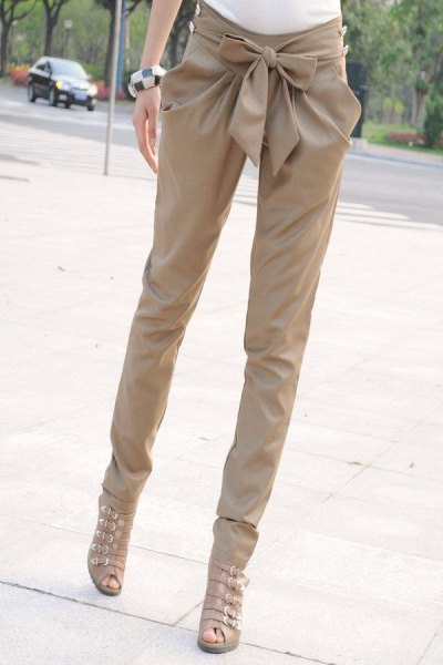 beige gladiator heeled sandals skinny pants