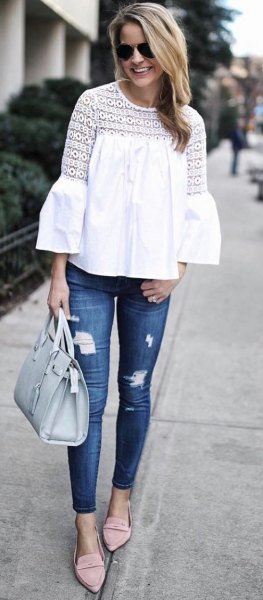 bell sleeve white lace top skinny jeans