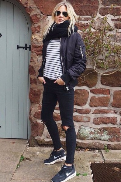 black and white horizontal striped t shirt bomber jacket