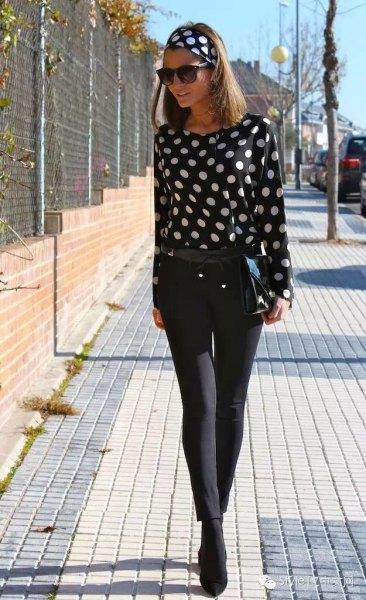 black and white polka dot headband blouse