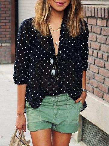 black and white polka dot shirt khaki shorts