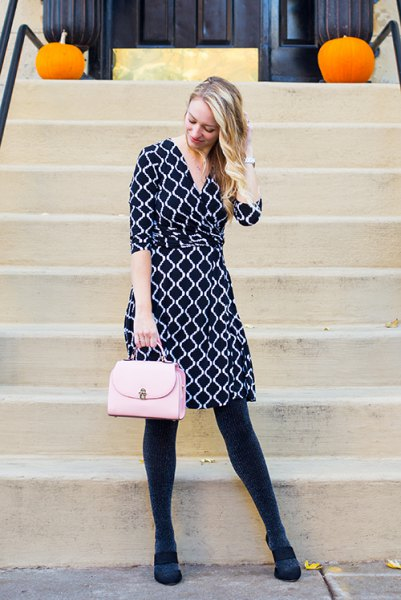 black and white printed knee length wrap dress