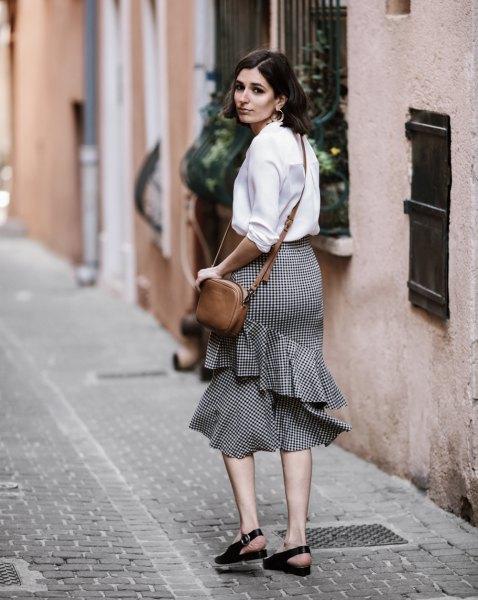 black and white ruffle midi skirt