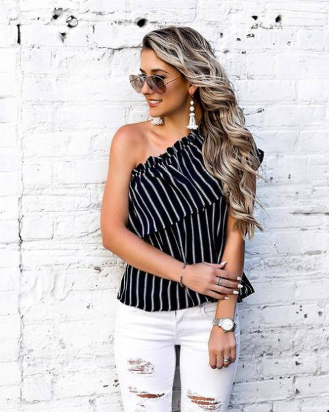 black and white striped ruffle top