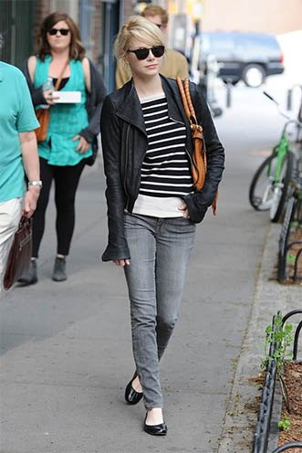 black and white striped sweater leather jacket